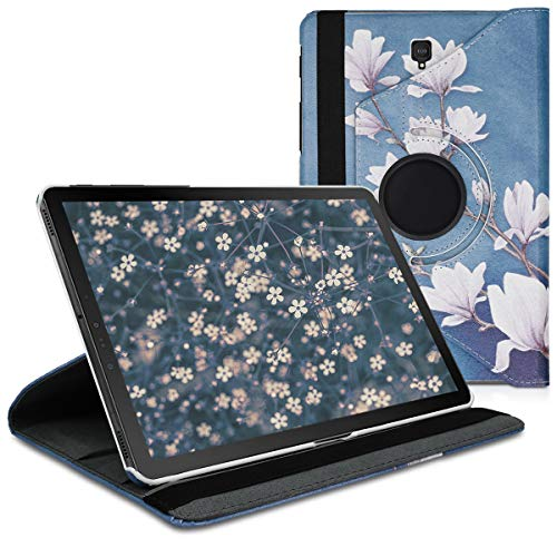 kwmobile 360° Case Compatible with Samsung Galaxy Tab S4 10.5 - PU Leather Tablet Cover with Stand Function - Magnolias Taupe/White/Blue Grey