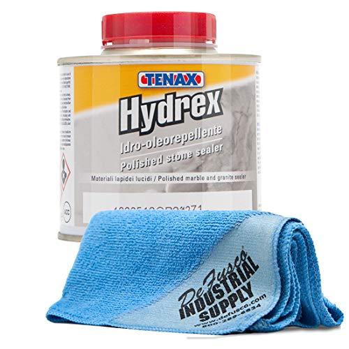 Tenax Hydrex Granite Sealer, Marble Sealer, Stone or Concrete Sealer - 1/4 LITER - 16x16 Microfiber Cloth - BUNDLE - 2 Items
