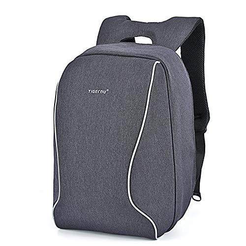 """Anti-Diebstahl Laptop Rucksack Herren 15"""" Business Backpack Tigernu dunkel grau meliert schwarz-grau 43 cm x 29 cm x 14 cm Leuchtstreifen bis 15"""", Robustes Oxford Gewebe"""