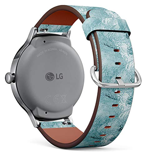 Compatible with [ LG Watch Style ] - 18mm Quick-Release Leather Band Bracelet Strap Wristband Replacement - Frozen Ice Texture