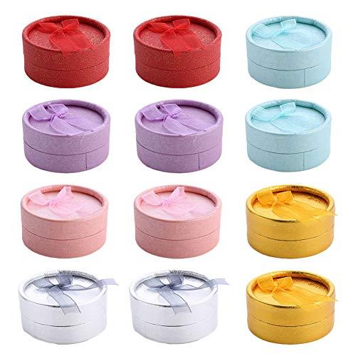 Cajas para Joyas Regalo, 12 PC Cajas de Regalo Cilíndrico Elegantes con Cinta y Lazo, Joyero Organizadores Cajas de Regalo de Almacenamiento para Pendiente Pulsera Collar