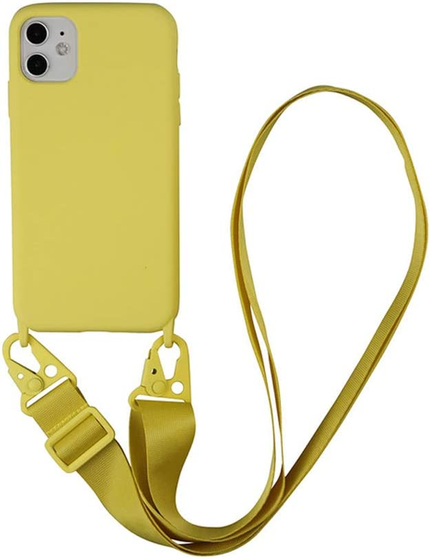 Arlgseln Soft TPU Cell Phone Case Compatible with iPhone 12 Pro Max 2020, Crossbody Phone Cover with Adjustable Lanyard Phone Protective Case for iPhone 12 Pro Max 6.7 inch (Yellow, 12/12 Pro)