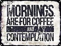 朝はコーヒーと熟考のためです、ブリキのサインヴィンテージ面白い生き物鉄の絵の金属板ノベルティ