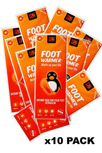 Only Hot Foot Warmers , Scaldapiedi , 8 ore di calore, Pronti all'uso, autoriscaldanti, 100% Naturale, Taglia unica,Soletta per scarpa ,10 paia, Multipack