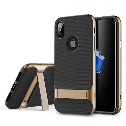 iPhone X/10 Protection Case, Anti-Fingerprint, Shock-Proof, Dual-Layered with TPU & PC (Gold Kickstand, Royce Series with Kickstand)