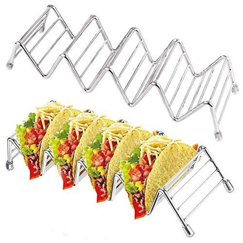 Taco Houder, Taco Stand, Taco Rack Tray-Premium 18/8 RVS Grill, Oven en Vaatwasser Safe-Taco Houders of Soft Shell Tacos, Wave Shape Keuken Gereedschap Restaurant Food Show- Set van 2 5 Stack Holder