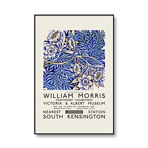 Ilustración floral, póster de exposición del Museo de William Morris, impresión de murales artísticos, pintura en lienzo sin marco decorativa moderna A2 15x20cm