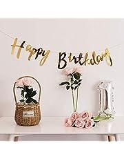 Party Propz Golden Metallic Happy Birthday Banner For Birthday Decoration,Birthday Decoration For Girls,Birthday Decoration For Boys,1st Birthday Decorations