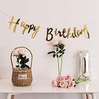 Party Propz Golden Metallic Happy Birthday Banner For Birthday Decoration,Birthday Decoration For Girls,Birthday Decoratio...