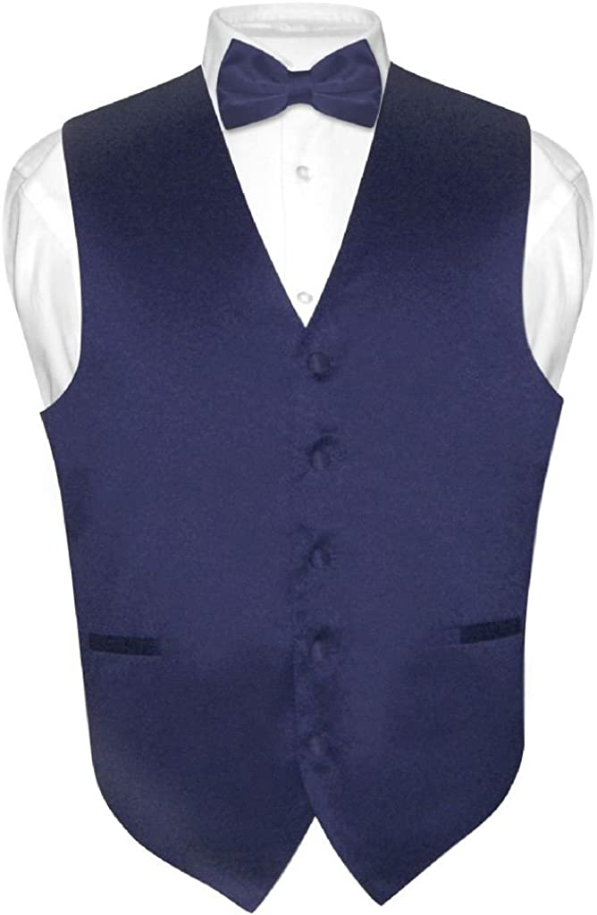 Men's Dress Vest BowTie Solid Indianapolis Mall NAVY Max 53% OFF Tie Color BLUE Bow for Set