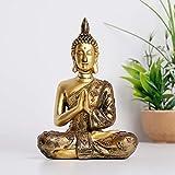 Figura decorativa de Buda sentada, pequeña figura de Buda sentada, de piedra artificial, escultura de estilo asiático, decoración para tu casa, casa, oficina, jardín zen, altura de 20 cm (repisa)