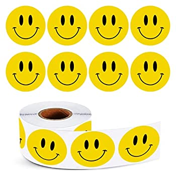STARLIBOO Smile Face Stickers Happy Encourage Sticker 1  Round Circle Teacher Labels 500 Total Per Roll Smile-Yellow