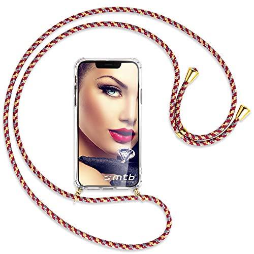mtb more energy Collar Smartphone para Motorola Moto G7 Play (5.7'') - Rojo Amarillo Rayado/Oro - Funda Protectora ponible - Carcasa Anti Shock con Correa para Hombro