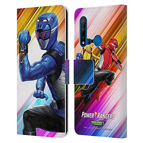 Head Case Designs sous Licence Officielle Power Rangers Beast Morphers Ranger Bleu Personnages Coque en Cuir à Portefeuille Compatible avec Huawei P20 Lite (2019)
