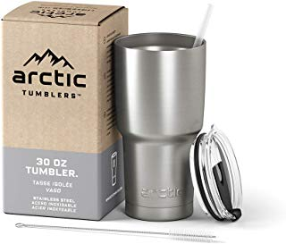 Arctic Tumblers Stainless Steel Camping & Travel Tumbler with Splash Proof Lid and Straw, Double Wall Vacuum Insulated, Premium Insulated Thermos - (Stainless Steel, 30 oz)