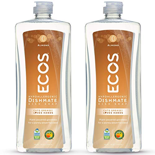 ECOS Non-Toxic Hypoallergenic Dishmate Dish Soap, Almond, 25oz Bottle by Earth Friendly Products (Pack of 2)