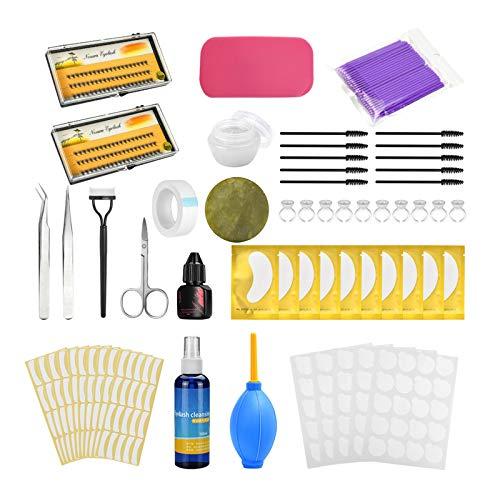 Hellery Kit de extensión de injerto de pestañas, Juego de práctica de extensión de pestañas Falsas Herramientas Kit de Arranque de pestañas & Pegatina de