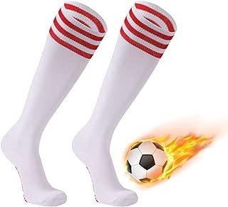 Soccer Socks, FOOTPLUS Unisex Knee High Triple Stripe Football Socks, 2-12 Pairs