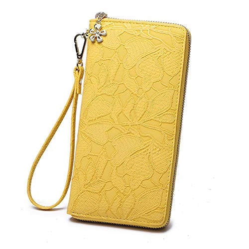 women wallet clutch large soft pu leather wristlet phone holder ladies long purse with wrist strap zip around for female (yellow)
