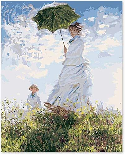 WCIAW Malen Nach Zahlen Kunst Malen Nach Zahlen DIY Impression Gemälde Monet Frau Regenschirm Frau 40X50Cm (Mit Rahmen)