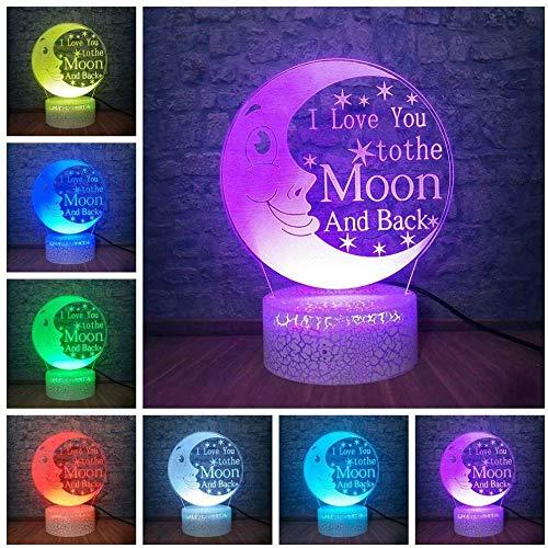 """USB 3D Fahrradbeleuchtung 3D-Nachtlicht \""""Ich liebe Dich bis Mond und Rücken\"""" Tischlampe LED 3D Romantische Dekoration Baby Schlaf Nachtlicht für Liebhaber Kinder"""