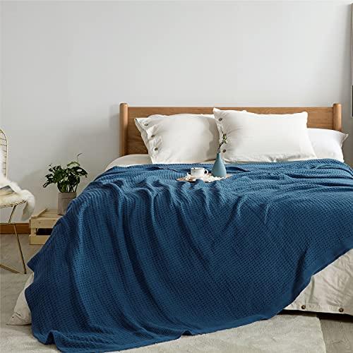 Bedsure Coperta Letto Matrimoniale Cotone - Coperta Matrimoniale Primaverile Blu, Coperta Estiva Matrimoniale 220x240cm
