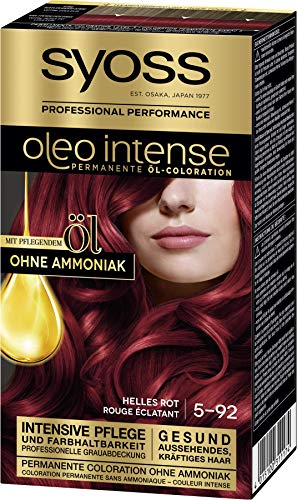 Syoss Oleo Intense Permanente Öl-Coloration 5-92 Helles Rot, mit pflegendem Öl & ohne Ammoniak, 3er Pack(3 x 115 ml)
