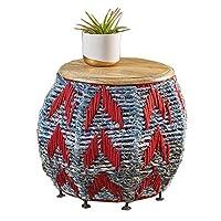 家具装飾サイドテーブルニットサイドテーブルコットンスレッド手織りラウンドテーブル、鉄脚付きソファテーブルリビングルームに最適オフィスベッドルーム2色BT a 16.14× 16.14× 14.17in