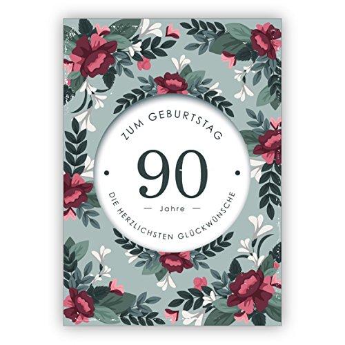 Mooie, verfijnde verjaardagskaart met decoratieve bloemen voor de 90e verjaardag: 90 jaar de hartelijke felicitaties • direct verzenden met uw tekst als inlegger • met envelop