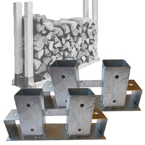 2er Set Verbinder für Holzlager, Stapelhilfe Kaminholz Brennholz von Gartenpirat®