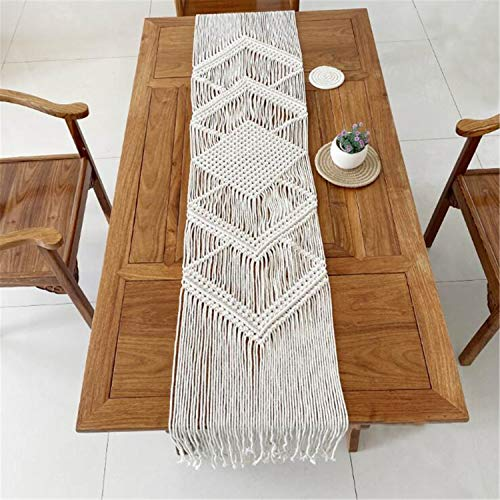 Hysunland Macrame Farmhouse Table Runners Handmade Boho Wedding Table Linen with Tassels Home Decoration for Dining Room Wedding Reception Christmas Party, 12.5 x 78.7 Inches