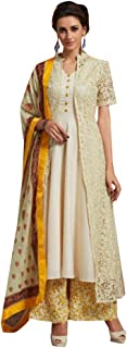 Off white Ready to wear Maslin Kurta Palazzo Xl Size Indian Ethnic bollywood Heavy embroidery 8418