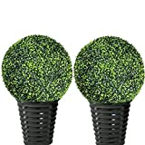 4 Pcs Boxwood Topiary Ball Two 20' Ball and Two 9' Ball Realistic Round Artificial Topiary Plant Indoor Outdoor Home Wedding Decor Artificial Plant Topiary Ball