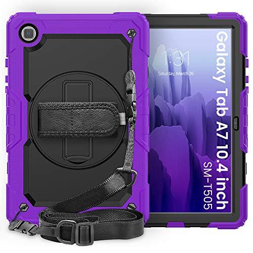 Lobwerk Funda 4 en 1 para Samsung Galaxy Tab Samsung Galaxy Tab A7 SM-T500 T505 de 10,4 pulgadas, protección extrema + trípode lila.