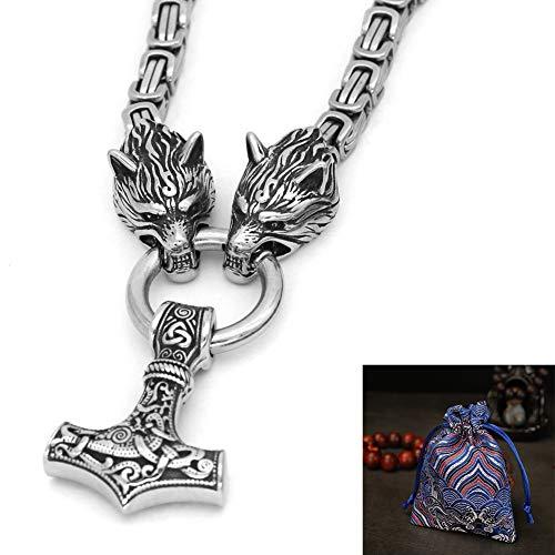 Viking Serie Celtic Wolf Kopf Edelstahl Halskette - Nordische Mythologie Tor Hammer Amulettanhänger, Mode Herren-Halskette Ethnischer Schmuck, 60 cm
