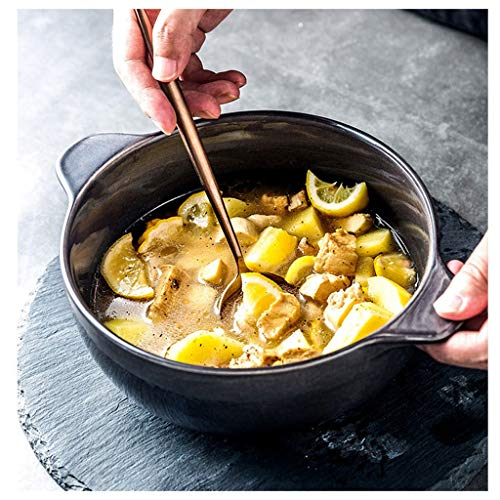 CJW Assiette creuse avec chapeau de paille en céramique - steak européen plats occidentaux cuisinant des fruits du petit déjeuner (Color : Black, Taille : 25.5cm)