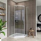 ELEGANT 900x900mm Semi-Frameless Pivot Pentagonal Shower Enclosure 8mm Tempered Glass Corner Shower Cubicle Door (900x900mm)