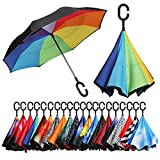 [Amazonブランド] Eono(イオーノ) ダブル レイヤー 反転 傘 リバース 折り 傘 セルフ スタンディング 防風 UV 保護 トラベル 傘 車 雨 と アウトドア用 C シェイプ ハンドル ズ レインボウ
