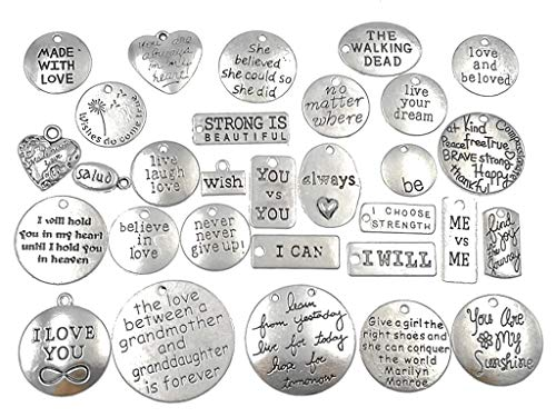 30pcs Sayings Charm Inspirational Words Lettering Message Quote Charm Pendant Bracelet Connector Linker Charm for DIY Jewelry Making Findings(Antique Silver Tone)