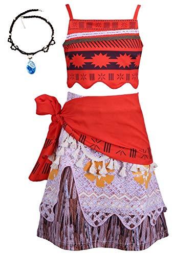 YOSICIL Disfraz Vaiana Moana Vestido Princesa Nias Incluye La Seorita Vaiana Collar Falda Hawaii Moana Costume Infantil Traje Cosplay Actuacin Carnaval Navidad Regalo Cumpleaos 2-8aos