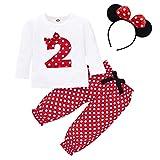 FYMNSI Conjunto de ropa de 3 piezas para bebé o niña, diseño retro de lunares, de algodón de...