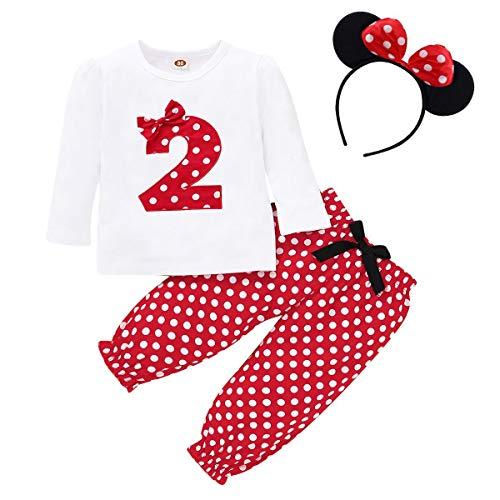 FYMNSI Conjunto de ropa de 3 piezas para bebé o niña, diseño retro de lunares, de algodón de manga larga, camiseta + pantalones largos + diadema para las orejas Rojo 2 18-24 Meses