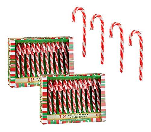 Spetebo - Bastoncini di zucchero commestibili con aroma di menta piperita, 24 pezzi, decorazione natalizia per albero di Natale, decorazione per albero di Natale, ciondolo per caramelle