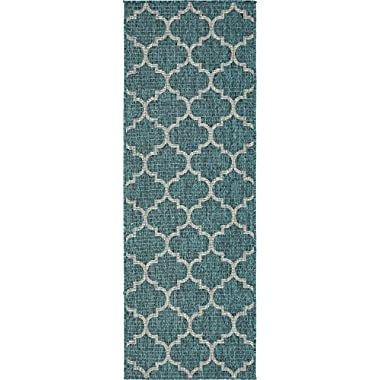 Unique Loom Outdoor Trellis Collection Traditional Geometric Teal Home Décor Runner Rug (2' x 6')