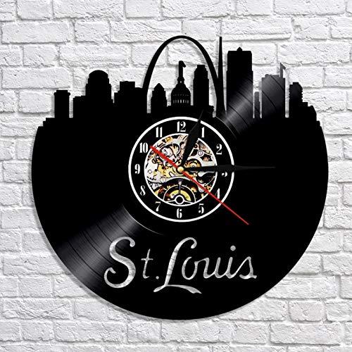 SHILLPS Horizonte De St. Louis Led Reloj De Pared De Vinilo Vintage Hecho A Mano Regalo Decoraciones para El Hogar