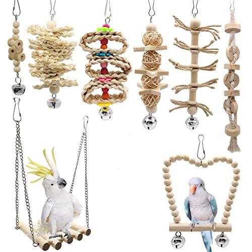 KY-Tech Papageienspielzeug, 8 Stück, Vogelspielzeug, Papageienschaukel, Kauspielzeug, Wellensittichspielzeug, bunte Glocke, Haustierkäfig-Spielzeug, Hängematte für kleine Sittiche, Sittiche