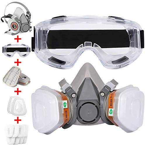 Half-Facepiece Reusable Respirator with Filters-GAS Respirator with Goggle Professional Painting Respirator Face Cover Against Chemical Organic Vapor,Woodworking,Car Spraying,Sanding,Welding