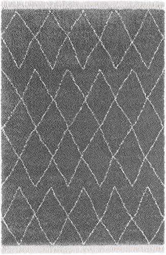 Mint Rugs Alfombra de Pelo Largo con Flecos, diseño geométrico (160 x 230 cm, 100% Polipropileno, Apta para Suelo Radiante), Color Gris Oscuro y Crema