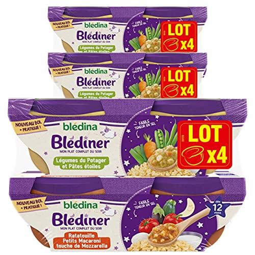 Blédina - Blediner - 12 Bols - 2 recettes - Ratatouille Petits Macaroni Lait - Légumes du Potager et Pâtes Etoilées - Pour les Diner de Bébé - Dès 12 Mois