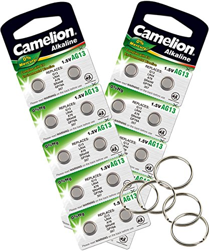 Camelion by SBS Knopfzelle Alkaline Batterie LR 55 AG8 20 Stück 1,5V + 5x Schlüsselringe gratis